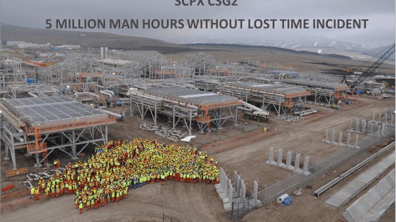 Проект Расширения Южно-Кавказкого Трубопровода площадка ГКС-2 — 5 000 000 человеко-часов без травм с временной потерей трудоспособности.