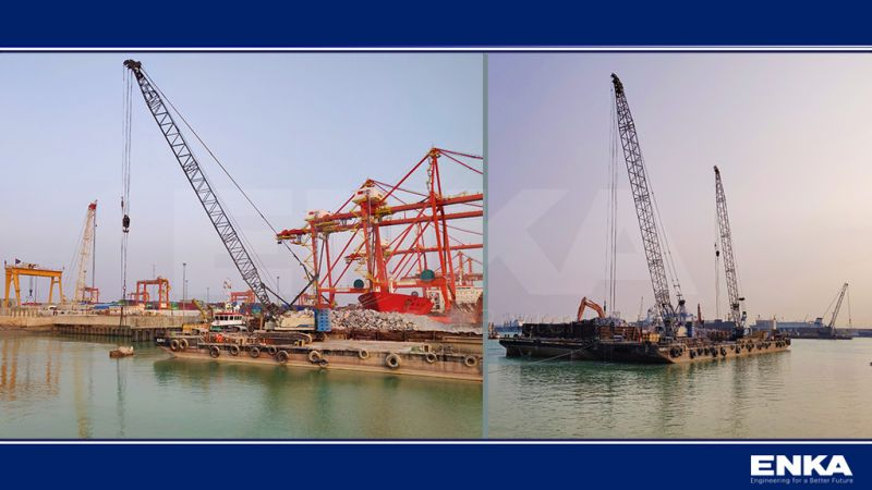 The overall progress of the Umm Qasr BMT Container Terminal Yard 5, Quay Wall & Marine Works Project reached up to 57%