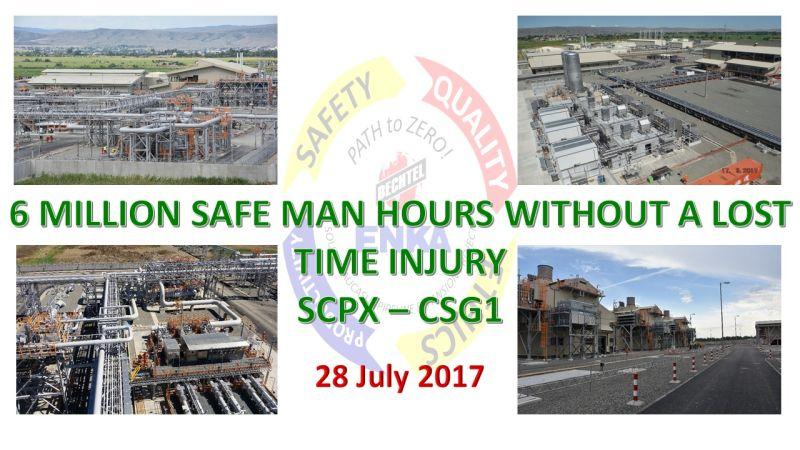 SCPX CSG1 projesi 6.000.000 adam-saati kayıp günlü kaza olmadan tamamlamıştır