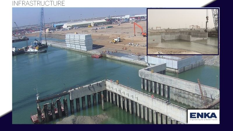 The overall progress of the Umm Qasr BMT Container Terminal Yard 5, Quay Wall & Marine Works Project reached 77.51%